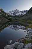 Maroon Bells Colorado. Maroon Bells Peaks Reflection in the Calm water Stock Photo