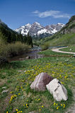 Maroon Bells, Colorado. The twin peaks of the Maroon Bells and a small pond. Colorado, USA stock image