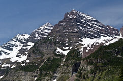 Maroon Bells, Colorado. The twin peaks of the Maroon Bells - Colorado, USA royalty free stock photos