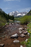 Maroon Bells, Colorado. The twin peaks of the Maroon Bells and a small pond. Colorado, USA stock photography