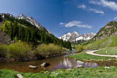 Maroon Bells, Colorado. The famous the Maroon Bells and Maroon Lake. Colorado, USA royalty free stock images
