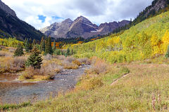 Maroon Bells in Colorado, Rocky Mountains, USA Royalty Free Stock Photography