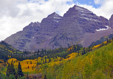 Maroon Bells in Colorado, Rocky Mountains, USA Stock Images