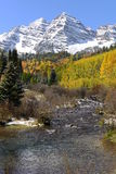 Maroon Bells and Creek in Autumn - Vertical Stock Photography