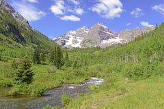 Maroon Bells, Elk Mountains, Colorado Stock Image