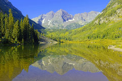 Maroon Bells, Elk Range, Rocky Mountains, Colorado Stock Image
