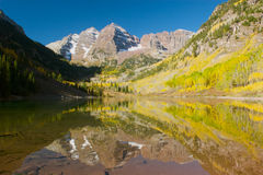 Maroon Bells in fall. Reflection of Maroon Bells (Aspen, Colorado) in the fall Royalty Free Stock Images