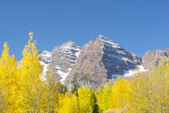 Maroon Bells in fall. A distant shot of Maroon Bells on a fall day Royalty Free Stock Photo