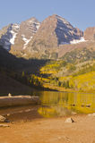 Maroon Bells in Fall. Reflection of Maroon Bells (Aspen, Colorado) in the fall Stock Image