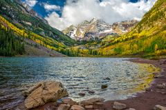 Maroon bells  during fall. Maroon bells in a winter morning Stock Photo