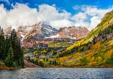 Maroon bells  during fall. Maroon bells in a winter morning Stock Image