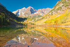 Maroon Bells Fall Reflection Stock Image