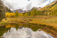 Maroon Bells Fall Reflection Stock Photo