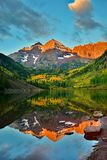 Maroon Bells Fall Sunrise Reflection Stock Photo