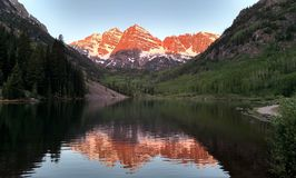 Maroon Bells in June stock images