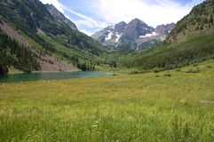 Maroon Bells and Lake stock photography