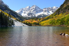 Maroon Bells and Lake in Fall Stock Images