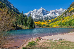 Maroon Bells Landscape Aspen Colorado in Fall Royalty Free Stock Images