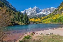 Maroon Bells Landscape Aspen Colorado in Fall. The scenic maroon bells aspen colorado in fall royalty free stock images