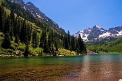Maroon Bells at Maroon Lake. Beautiful high mountain lake, Lake Maroon near Aspen, Colorado at Maroon Bells Royalty Free Stock Images