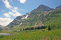 Maroon Bells and the meadow Royalty Free Stock Photos