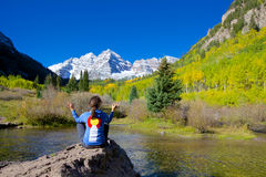 Maroon Bells Meditating Royalty Free Stock Photos
