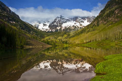 Maroon Bells, the most photographed mountain peaks. The world renowned Maroon Bells near Aspen, Colorado Stock Images