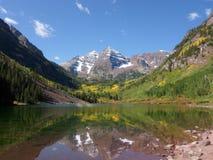 Maroon Bells, mountain, lake, reflection, Aspen, Co. Reflection across the lake of the maroon bells mountains in aspen Colorado Royalty Free Stock Photo