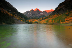 Maroon Bells. Mountains with fall colors in the background, Colorado, USA Stock Photo