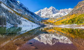 Maroon Bells national park in Falls, Aspen, Co Stock Photos