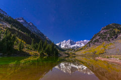 Maroon Bells at night with visible milky way Aspen Colorado Royalty Free Stock Photos