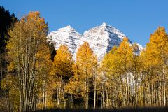 Maroon Bells over Aspen trees in fall Royalty Free Stock Photo