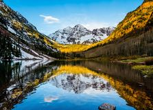 Maroon Bells peak at Maroon lake Stock Photo