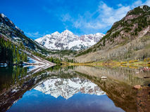 Maroon Bells peak at Maroon Lake Stock Photography