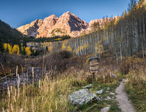 Maroon Bells Peaks and Hiking Trail Stock Photography