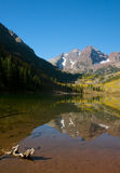 Maroon Bells reflection. Autumn reflection shot of Maroon Bells in Aspen, Colorado Royalty Free Stock Photography