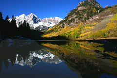 Maroon Bells Reflection. Maroon Bells mountain and Maroon Lake reflection Stock Photo
