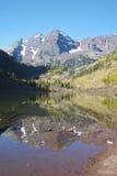 Maroon Bells reflection. Autumn reflection shot of Maroon Bells in maroon lake near Aspen, Colorado Stock Photography