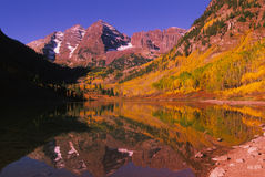 Maroon Bells Reflection in Autumn. Reflection of maroon bells and fall aspens near aspen colorado Stock Photography