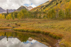 Maroon Bells Reflection in Fall Royalty Free Stock Image
