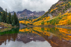 Maroon Bells Reflection in Fall Royalty Free Stock Photography