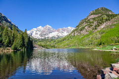 Maroon Bells Reflection in Summer Stock Image