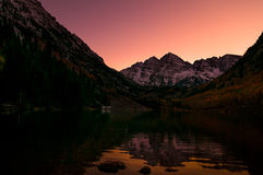 Maroon Bells Reflection after Sunset Stock Image