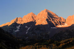 The Maroon bells in the Rocky Mountains Stock Photo