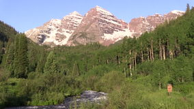 Maroon Bells Scenic Landscape. The scenic maroon bells aspen colorado in summer stock video footage