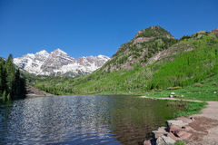 Maroon Bells Scenic Reflection in Summer Stock Images