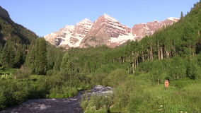 Maroon Bells Scenic Zoom In. The zoom in on the scenic maroon bells aspen colorado in summer stock video