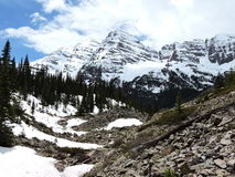 Maroon Bells with Snow Royalty Free Stock Image