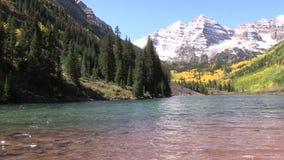 Maroon Bells Splendor in Autumn. An early snow coats scenic maroon bells near aspen colorado in fall stock footage