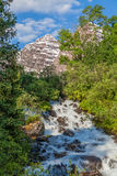 Maroon Bells Summer Landscape and Waterfall Stock Photography